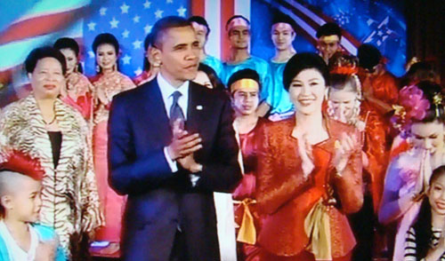 Cherryl Hayes with US President Barack Obama and Thai Prime Minister Yingluck Shinawatra